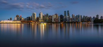stock image of  night skyline of vancouver downtown from stanley park