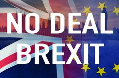 stock image of  no deal brexit conceptual image of text over london image and uk and eu flags symbolising destruction of agreement