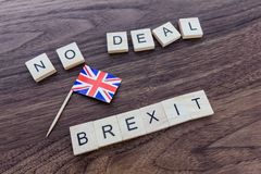 stock image of  no deal brexit with union jack flag