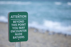 stock image of  nude beach sign