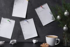 stock image of  office wall with checklists for work hobbies health and family