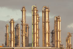 stock image of  oil refinery industry distillation pipelines
