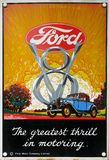 stock image of  old advert - ford v8