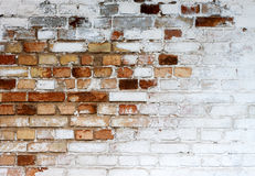 stock image of  old chipped white brick wall texture background, whitewashed grungy brick wall, abstract red white vintage background