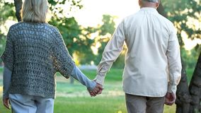 stock image of  old couple holding hands and walking in park, romantic date, love and trust