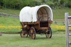 stock image of  old covered wagon