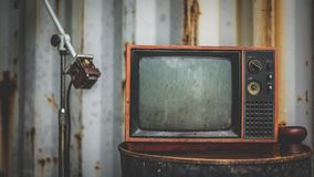 stock image of  old rusty grunge television collection