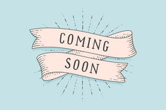 stock image of  old school vintage ribbon banner with text coming soon