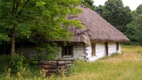 stock image of  old wooden hut from xix century located in open air museum in sucha in poland.