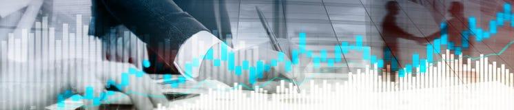 stock image of  online trading, forex, investment concept on blurred business center background. website header banner.