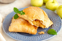 stock image of  open apple turnover