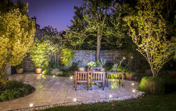 stock image of  outdoor patio illuminated at night