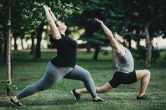 stock image of  overweight woman working out with personal trainer