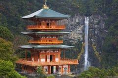 stock image of  pagoda and nachi falls in the wakayama prefecture, japan