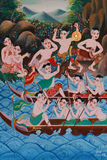 stock image of  painting of traditional boat racing symbol of thai culture hobbies, thai style painting on temple wall