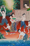 stock image of  painting of traditional water festival, symbol of thai culture hobbies, thai style painting on temple wall