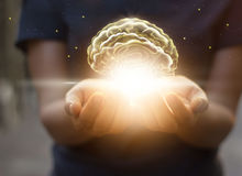 stock image of  palm care and protect virtual brain, innovative technology in sc