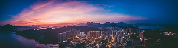 stock image of  panorama images of hong kong cityscape view from sky