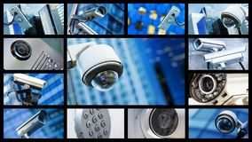 stock image of  panoramic collage of closeup security cctv camera or surveillance system
