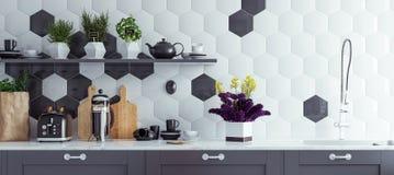 stock image of  panoramic modern kitchen interior background