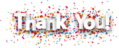 stock image of  paper thank you confetti sign