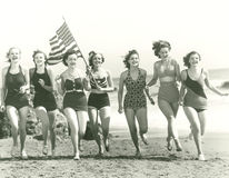 stock image of  patriotic women at the beach