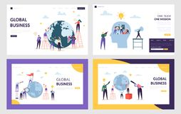 stock image of  people character make global business on front earth landing page. male and female work for new idea set teamwork