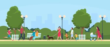 stock image of  people in park. persons leisure and sport activities outdoor. cartoon family and kids characters in summer park vector