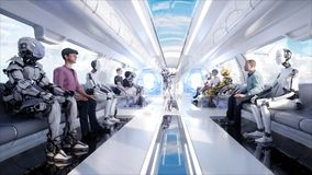 stock image of  people and robots. futuristic monorail transport. concept of future. realistic 4k animation.
