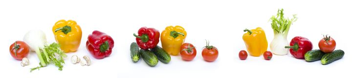 stock image of  peppers with cucumbers and tomatoes on a white background. cabbage with cucumbers and mushrooms on a white background. fresh veget