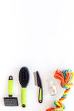 stock image of  pets cure with brush for treatment set on white background top view mock up