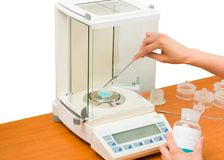 stock image of  pharmacist measuring substance