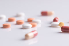 stock image of  pharmacy theme,  medicine tablets antibiotic pills.