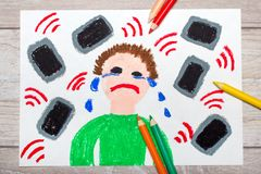 stock image of  colorful drawing: crying boy surrounded by phones or tablets.