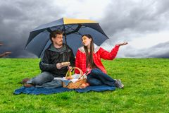 stock image of  picnic in the rain