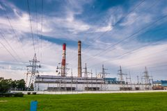 stock image of  pipes of a chemical enterprise plant. air pollution concept. industrial landscape environmental pollution waste of thermal power