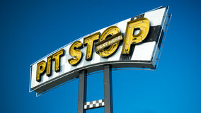stock image of  pit stop sign and text