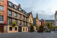 stock image of  place du lieutenant-aubert with famos old buildings in rouen, normandy, france