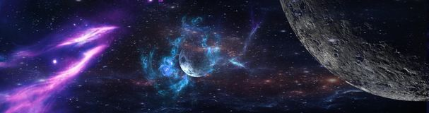 stock image of  planets and galaxy, science fiction wallpaper.