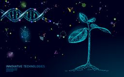 stock image of  plant sprout biotechnology abstract concept. 3d render seedling tree leaves dna genome engineering vitamin supplement