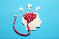 stock image of  plasticine head and brain. smart critic mind. creative think