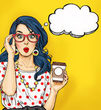 stock image of  pop art girl with coffee cup in glasses with thought bubble. party invitation. birthday card. hollywood, movie star. comic woman.