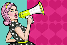 stock image of  pop art girl with megaphone. woman with loudspeaker. girl announcing discount or sale. shopping time.