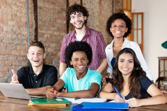 stock image of  portait of international students at university