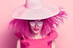 stock image of  portrait beautiful girl. pink fashion hairstyle