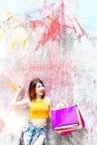 stock image of  portrait charming beautiful shopper woman. attractive beautiful