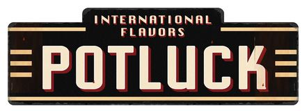 stock image of  potluck invitation logo art international flavors dishes