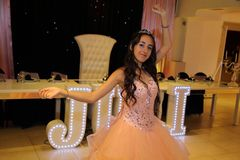 stock image of  pretty teen quinceanera birthday girl celebrating in princess dress pink party, special celebration of girl becoming woman.