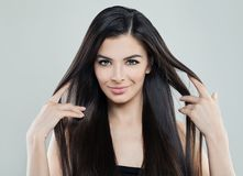 stock image of  pretty young model woman with long silky hair