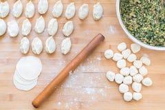 stock image of  the process of making dumplings